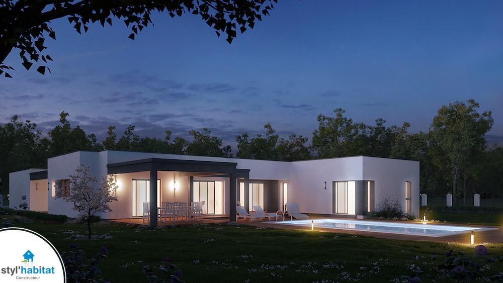 Plan maison contemporaine et moderne styl habitat for Maison moderne 140m2