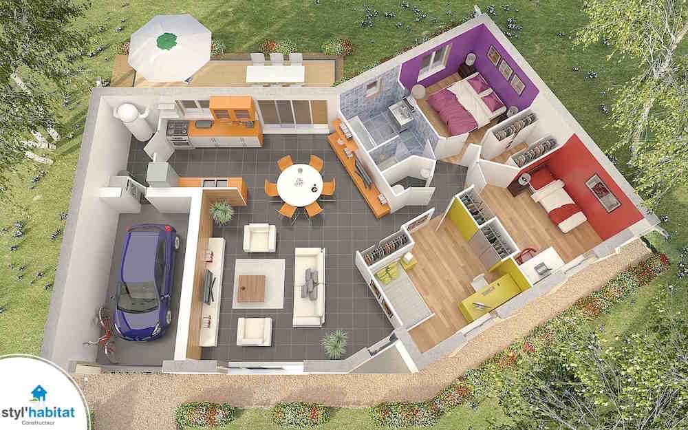 Photo r alisation styl habitat maison en v premier prix for Plan de maison avec prix