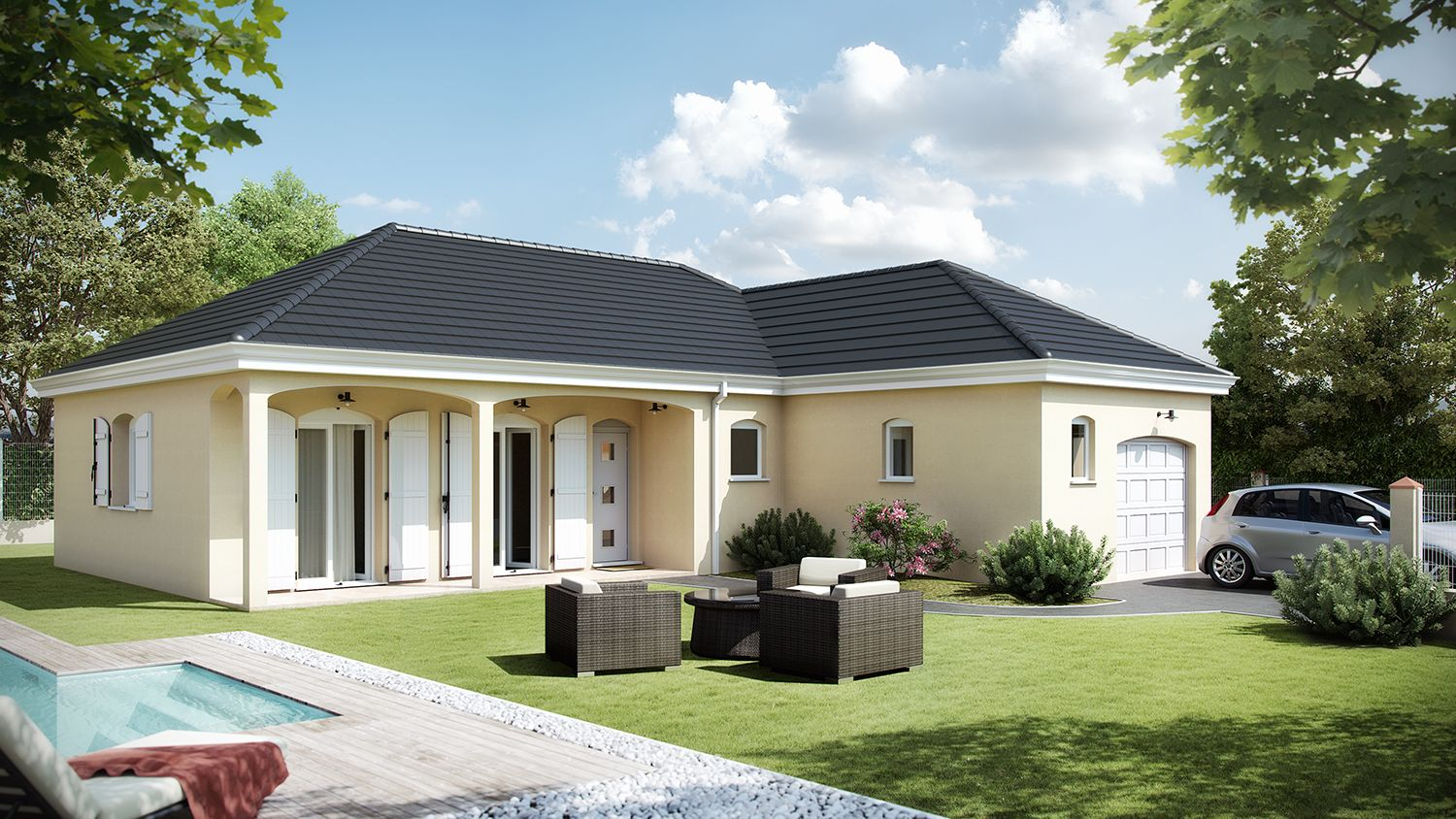 Modele de maison avec plan en l for Modele maison plain pied contemporaine
