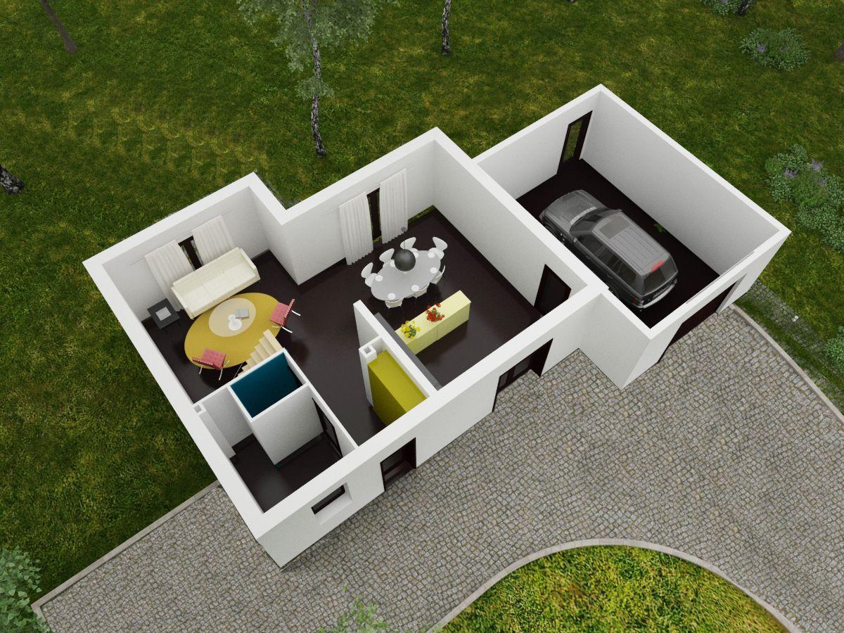 Maison contemporaine d 39 architecte tage for Site de construction de maison 3d