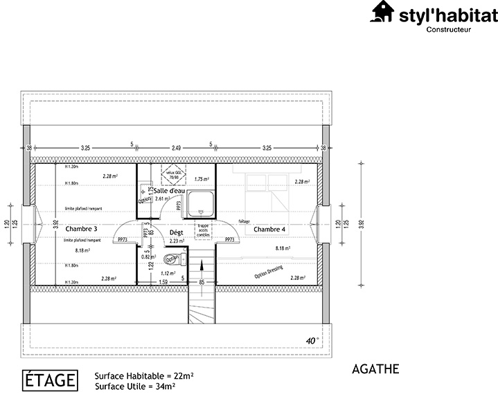 Great plan maison tage agathe e with plan maison tage 3 for Plan maison 3 chambres