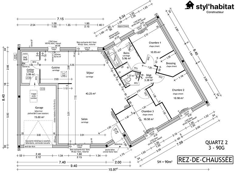 plan de maison en v