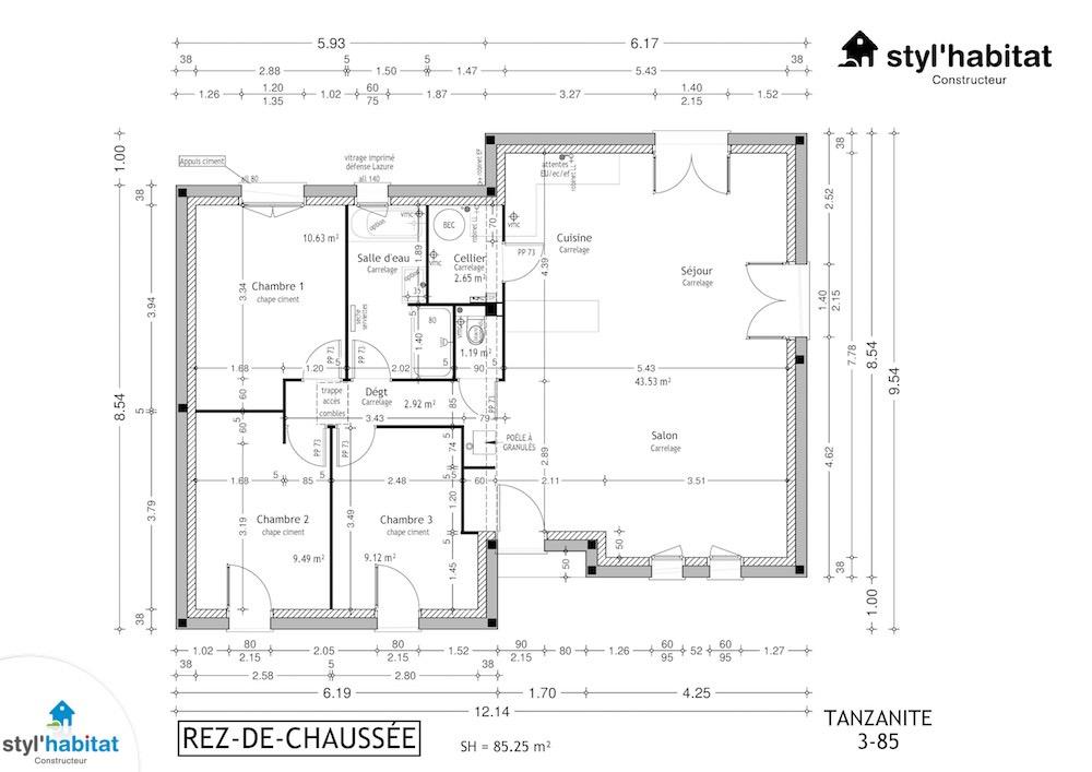 Modele Maison Styl Habitat TANZANITE plan rdc3-85