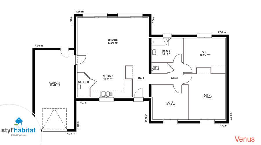 Plan maison venus for Modele maison 160m2